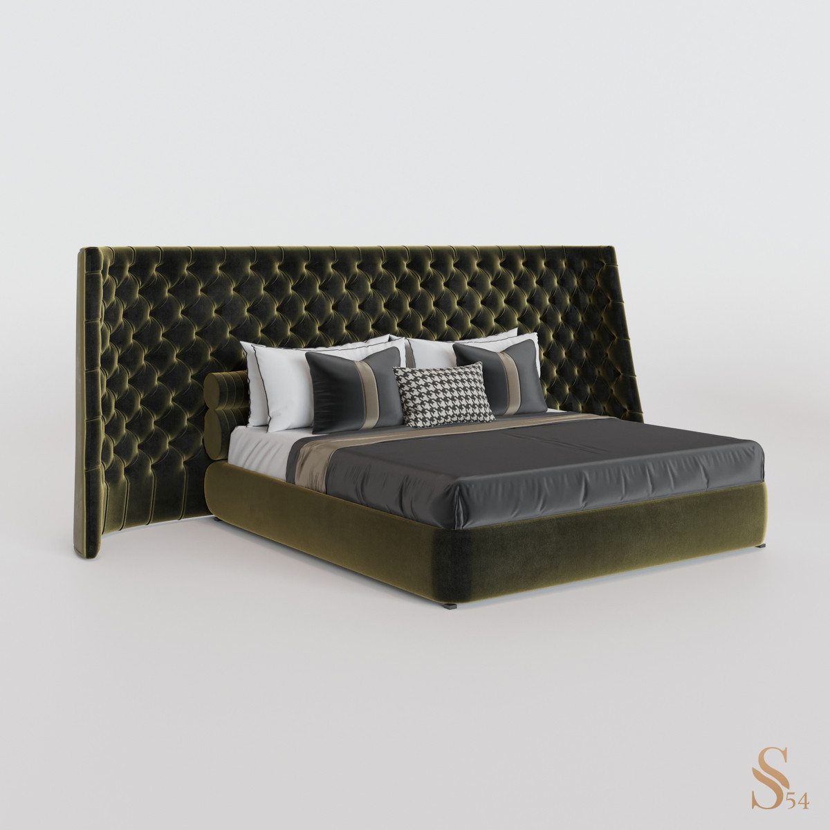 Кровать 01 — Велюр (Зелёный)