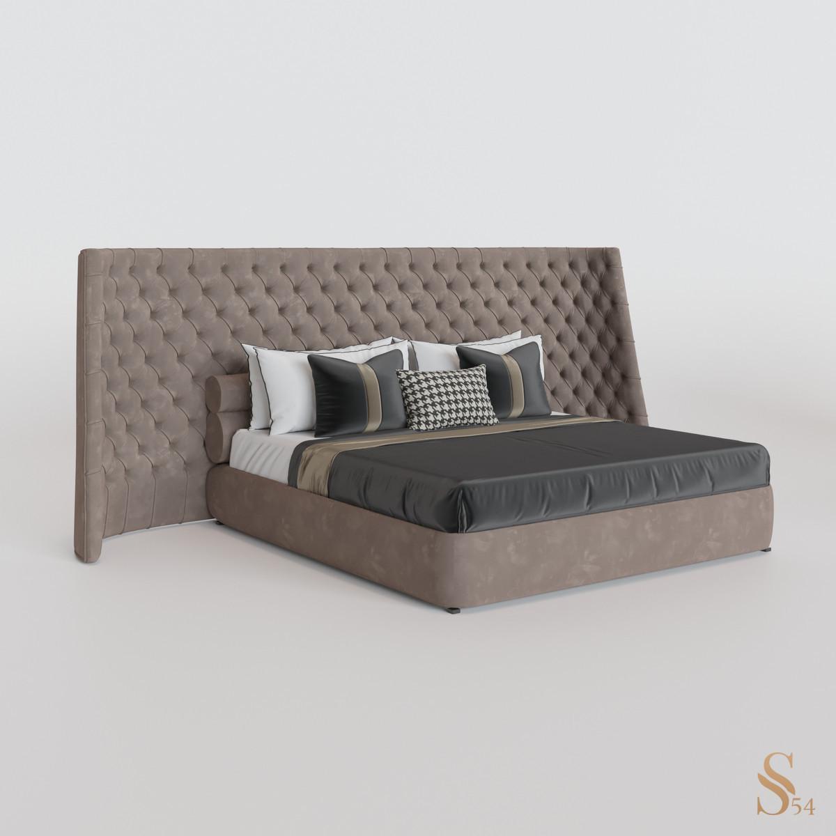 Кровать 01 — Нубук (Серо-бежевый)